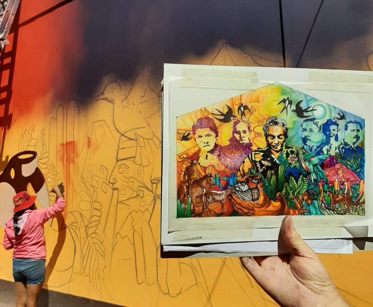 Artistas visuales locales interpretan obras y pensamientos de Gabriela Mistral en muros de la comuna de Vicuña