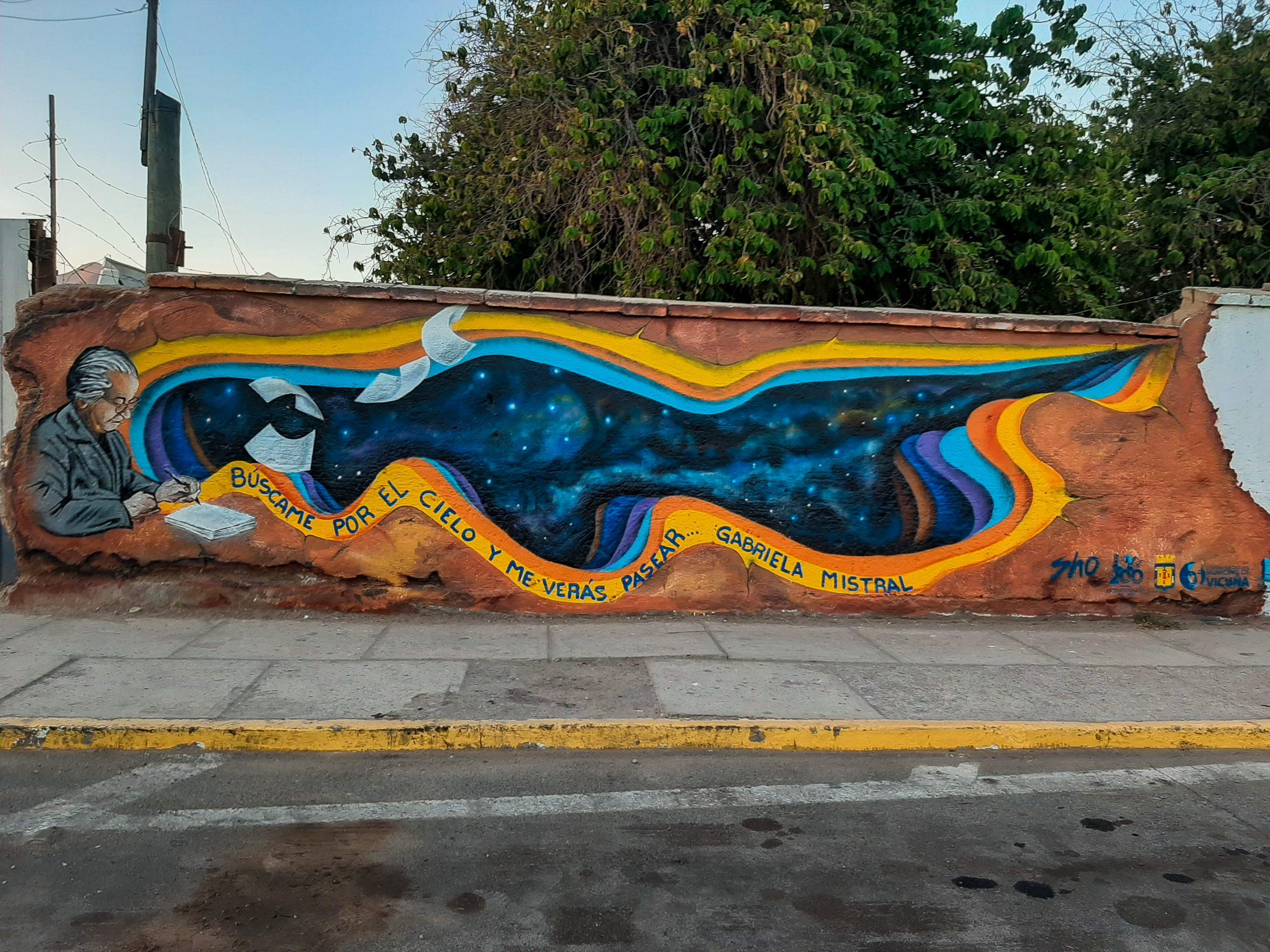"""""""Mistral a los muros elquinos"""": conmemoran el natalicio de la poeta con 5 obras visuales en calles de la comuna de Vicuña"""